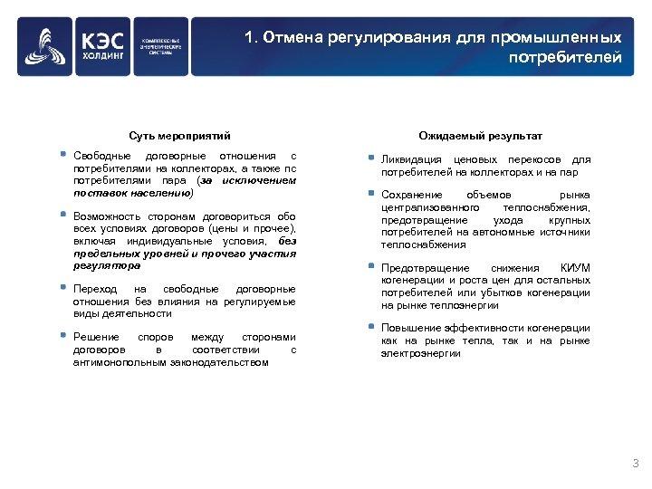 1. Отмена регулирования для промышленных потребителей Суть мероприятий Свободные договорные отношения с потребителями на