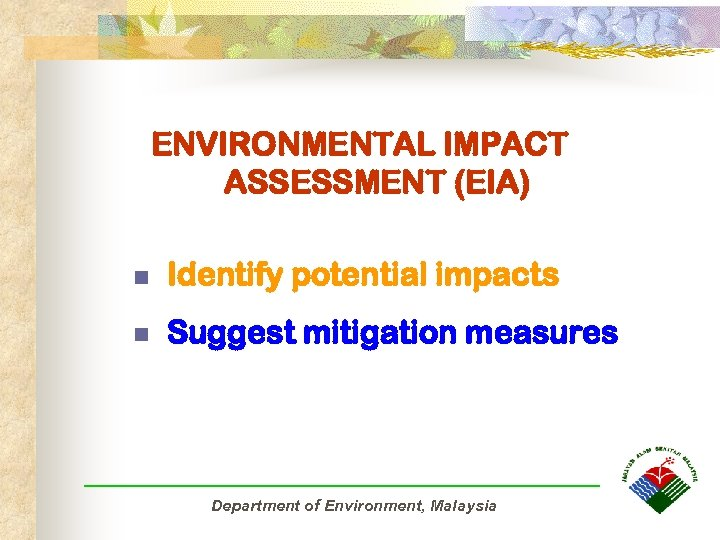 ENVIRONMENTAL IMPACT ASSESSMENT (EIA) n Identify potential impacts n Suggest mitigation measures Department of