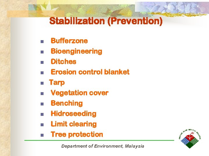 Stabilization (Prevention) n n n Bufferzone Bioengineering Ditches Erosion control blanket Tarp Vegetation cover