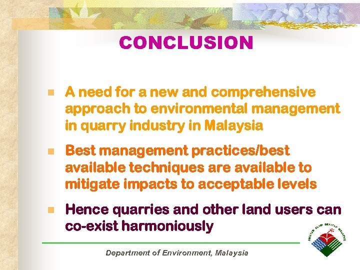 CONCLUSION n A need for a new and comprehensive approach to environmental management in