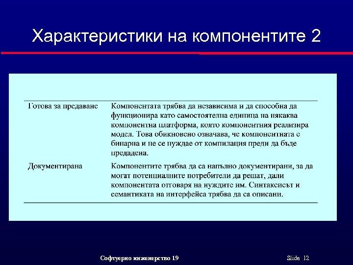 Характеристики на компонентите 2 Софтуерно инженерство 19 Slide 12