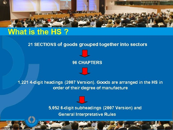 What is the HS ? 21 SECTIONS of goods grouped together into sectors 96