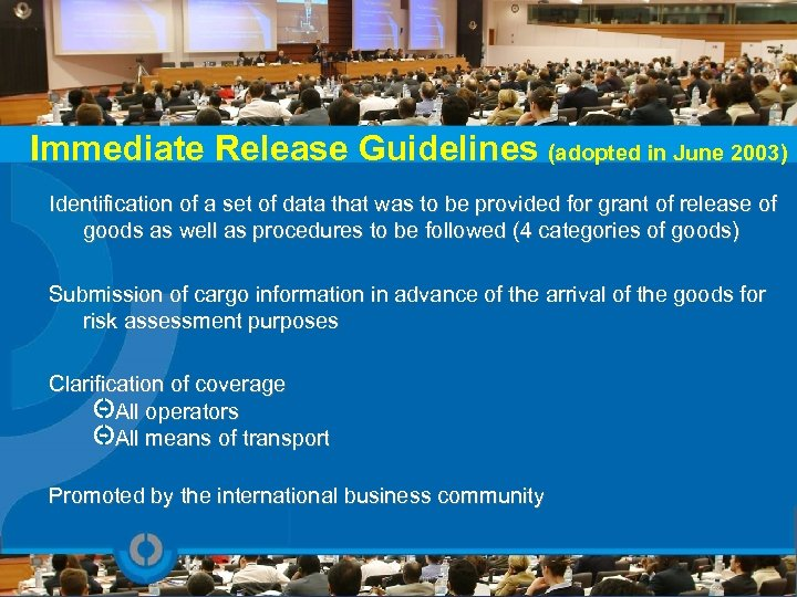 Immediate Release Guidelines (adopted in June 2003) Identification of a set of data that