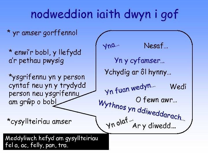 nodweddion iaith dwyn i gof * yr amser gorffennol Yna… * enwi'r bobl, y