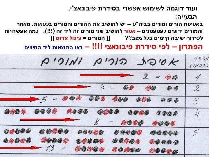 ועוד דוגמה לשימוש אפשרי בסידרת פיבונאצ'י. הבעייה: באסיפת הורים ומורים בביה