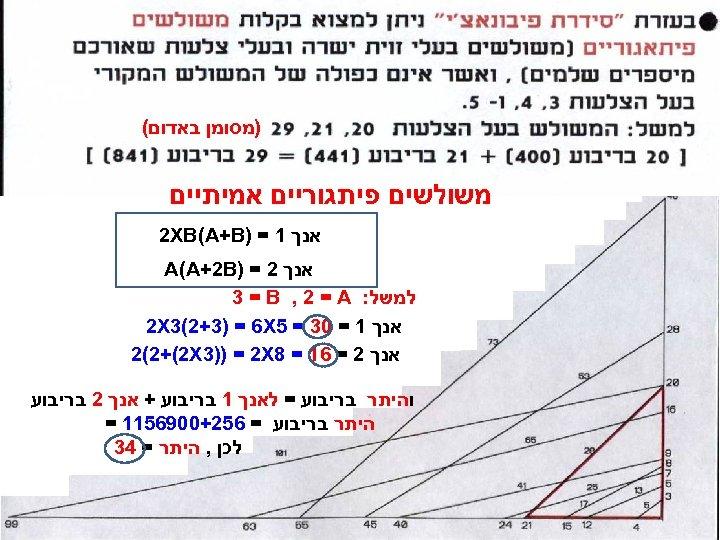 )מסומן באדום( משולשים פיתגוריים אמיתיים אנך 1 = ) 2 XB(A+B אנך 2