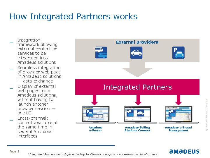 How Integrated Partners works _ _ Page 5 External providers Integrated Partners Amadeus e-Power