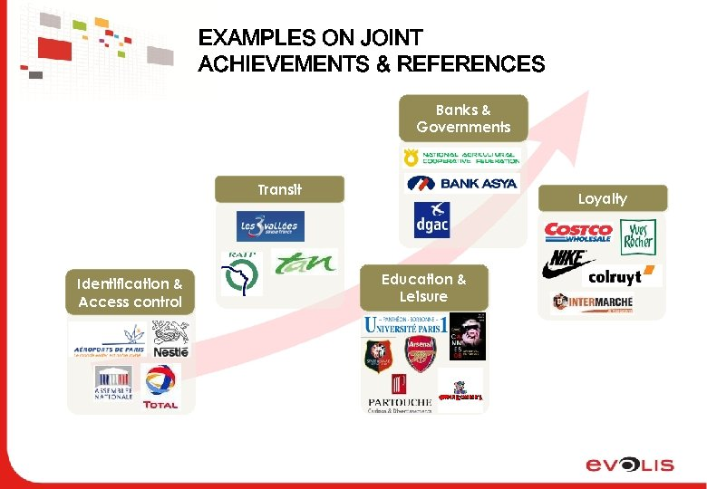 EXAMPLES ON JOINT ACHIEVEMENTS & REFERENCES Banks & Governments Transit Identification & Access control