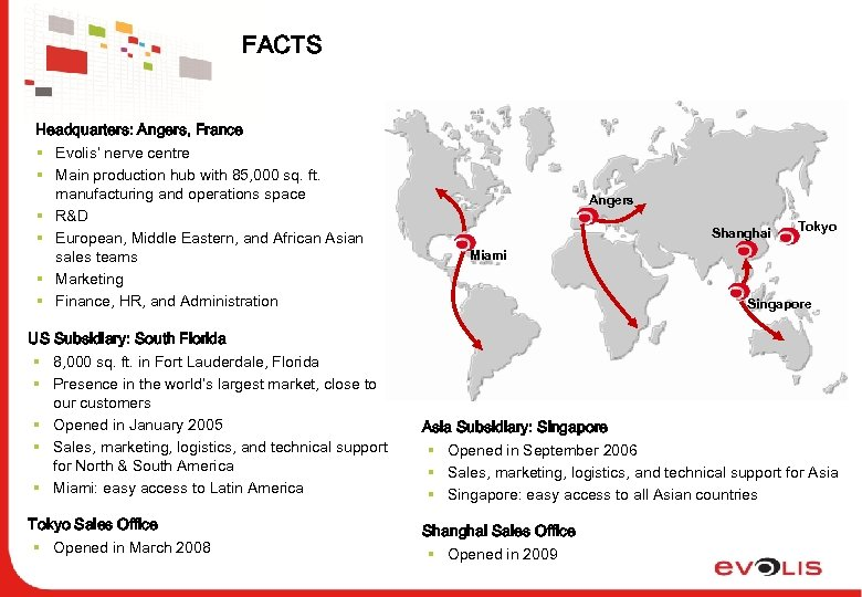 FACTS Headquarters: Angers, France § Evolis' nerve centre § Main production hub with 85,