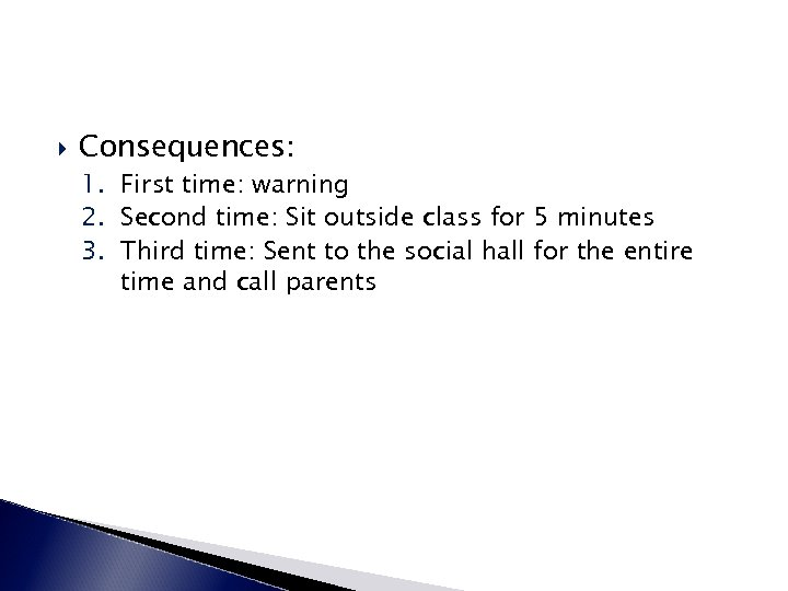 Consequences: 1. First time: warning 2. Second time: Sit outside class for 5