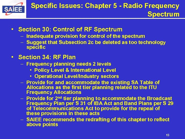 Specific Issues: Chapter 5 - Radio Frequency Spectrum • Section 30: Control of RF