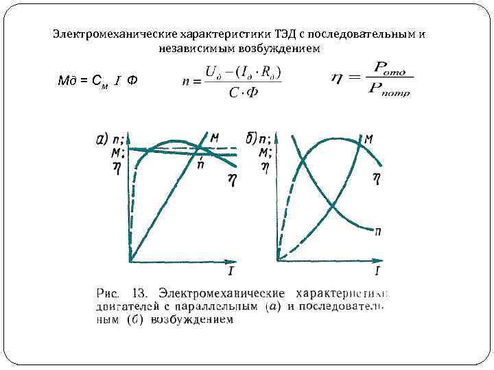 Электромеханические характеристики ТЭД с последовательным и независимым возбуждением Мд = С м Ф