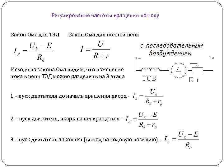 Регулирование частоты вращения по току Закон Ома для ТЭД Закон Ома для полной цепи