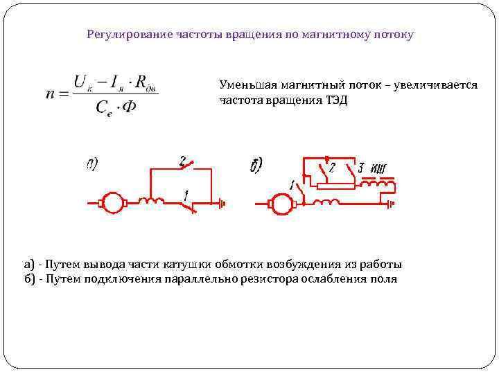 Регулирование частоты вращения по магнитному потоку Уменьшая магнитный поток – увеличивается частота вращения ТЭД
