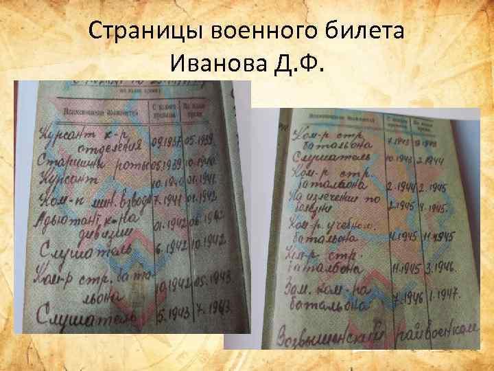 Страницы военного билета Иванова Д. Ф.