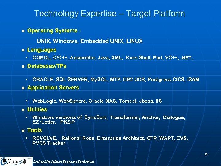 Technology Expertise – Target Platform n Operating Systems : UNIX, Windows, Embedded UNIX, LINUX
