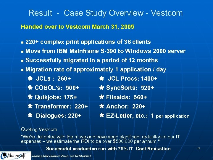 Result - Case Study Overview - Vestcom Handed over to Vestcom March 31, 2005