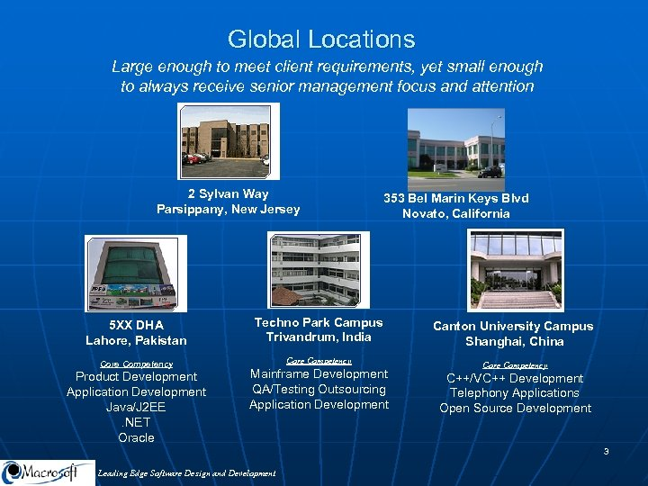 Global Locations Large enough to meet client requirements, yet small enough to always receive