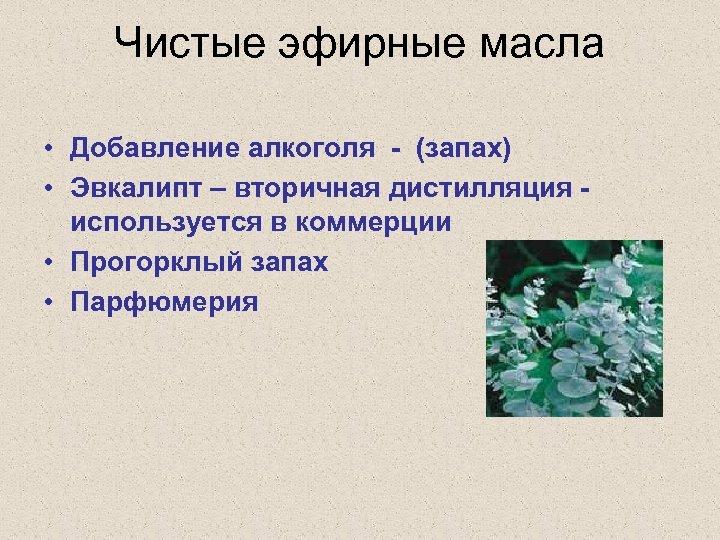 Чистые эфирные масла • Добавление алкоголя - (запах) • Эвкалипт – вторичная дистилляция -