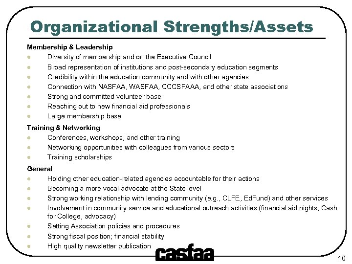 Organizational Strengths/Assets Membership & Leadership l Diversity of membership and on the Executive Council