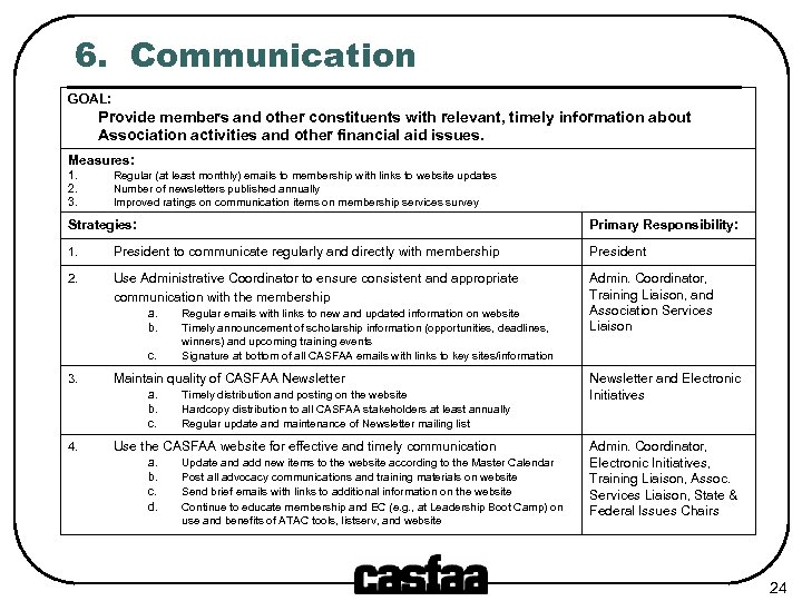 6. Communication GOAL: Provide members and other constituents with relevant, timely information about Association