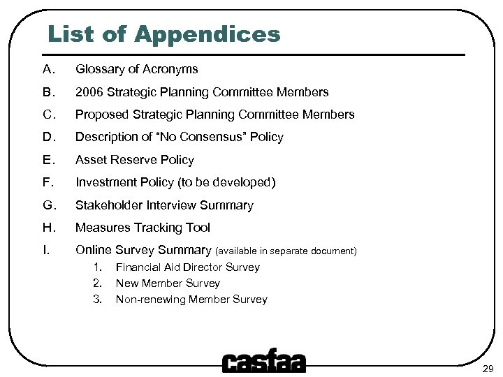 List of Appendices A. Glossary of Acronyms B. 2006 Strategic Planning Committee Members C.