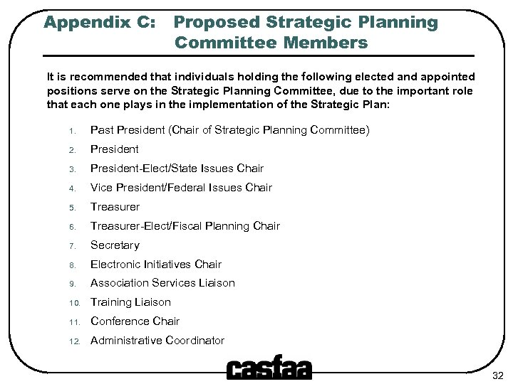 Appendix C: Proposed Strategic Planning Committee Members It is recommended that individuals holding the