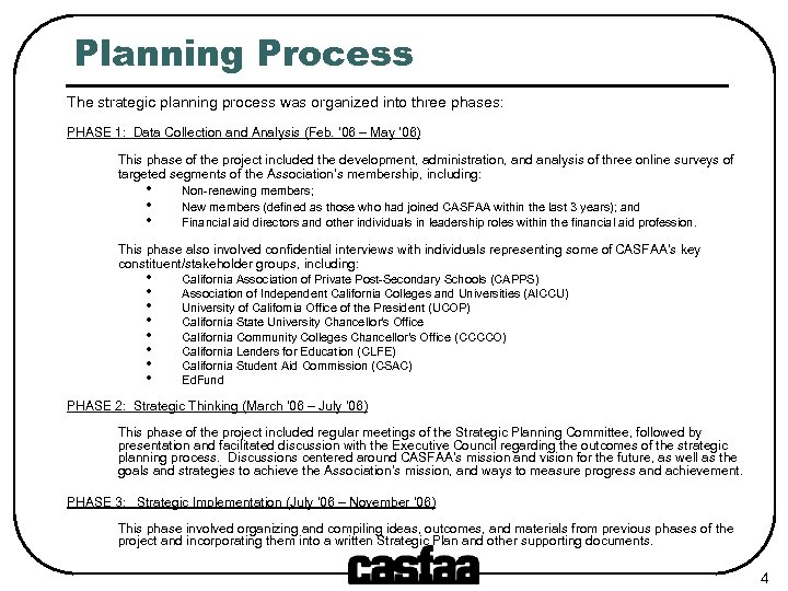 Planning Process The strategic planning process was organized into three phases: PHASE 1: Data