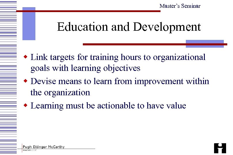 Master's Seminar Education and Development w Link targets for training hours to organizational goals