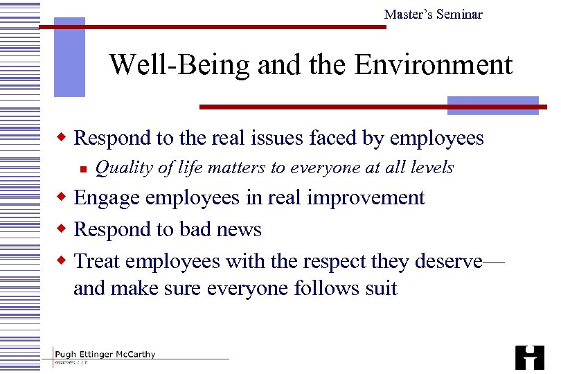 Master's Seminar Well-Being and the Environment w Respond to the real issues faced by