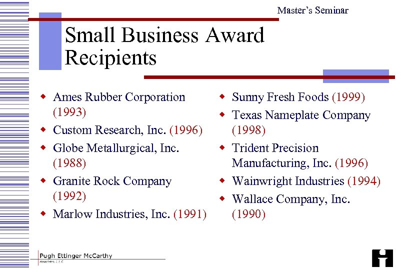 Master's Seminar Small Business Award Recipients w Ames Rubber Corporation (1993) w Custom Research,