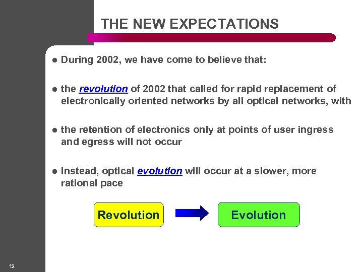 THE NEW EXPECTATIONS l During 2002, we have come to believe that: l the