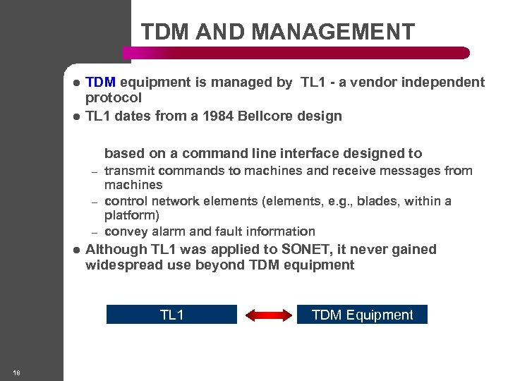 TDM AND MANAGEMENT l l TDM equipment is managed by TL 1 - a