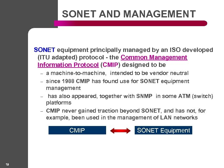 SONET AND MANAGEMENT SONET equipment principally managed by an ISO developed (ITU adapted) protocol