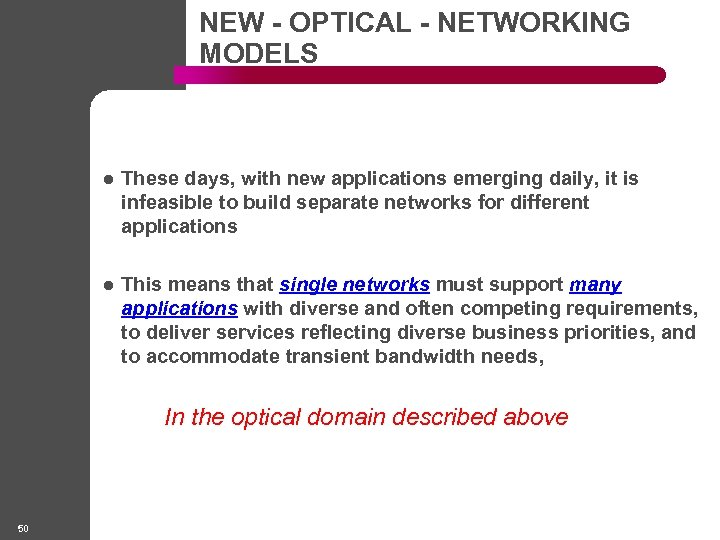 NEW - OPTICAL - NETWORKING MODELS l These days, with new applications emerging daily,