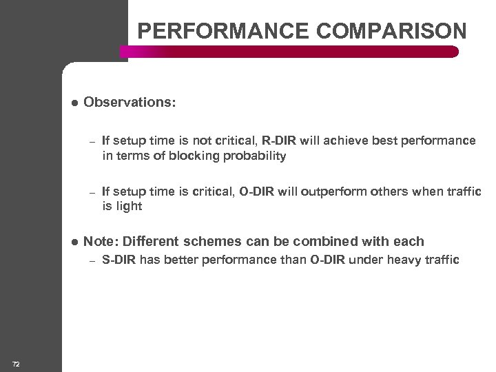 PERFORMANCE COMPARISON l Observations: – – l If setup time is not critical, R-DIR