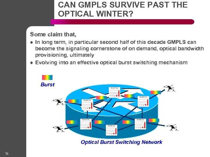 CAN GMPLS SURVIVE PAST THE OPTICAL WINTER? Some claim that, l l In long