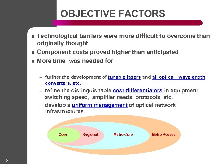 OBJECTIVE FACTORS l l l Technological barriers were more difficult to overcome than originally