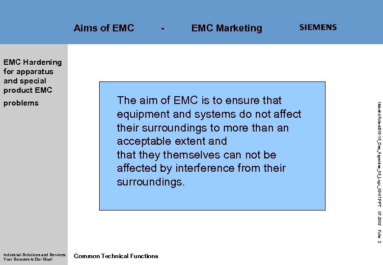 Aims of EMC Hardening for apparatus and special product EMC Marketing The aim of