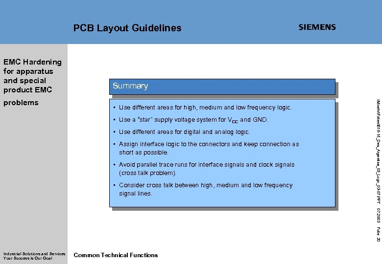 PCB Layout Guidelines EMC Hardening for apparatus and special product EMC • Use different