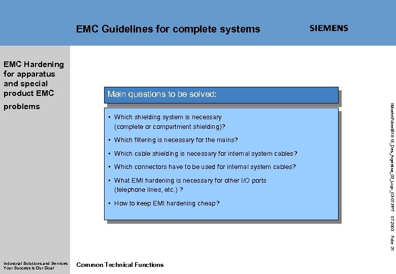 EMC Guidelines for complete systems EMC Hardening for apparatus and special product EMC Main