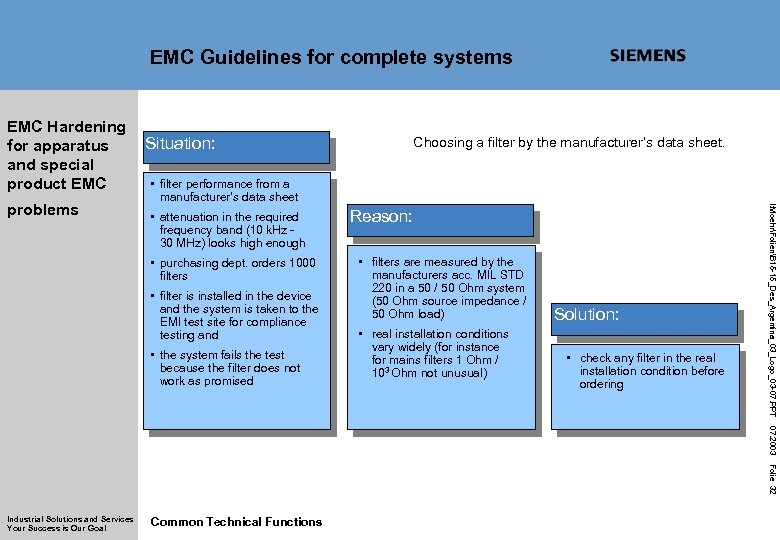 EMC Guidelines for complete systems EMC Hardening for apparatus and special product EMC Choosing