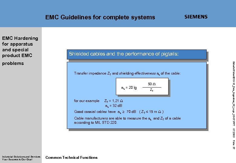 EMC Guidelines for complete systems EMC Hardening for apparatus and special product EMC Shielded