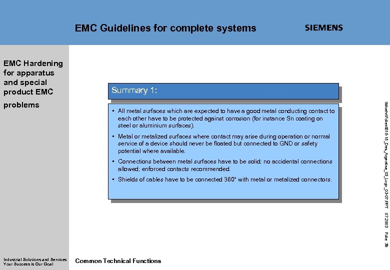 EMC Guidelines for complete systems EMC Hardening for apparatus and special product EMC •