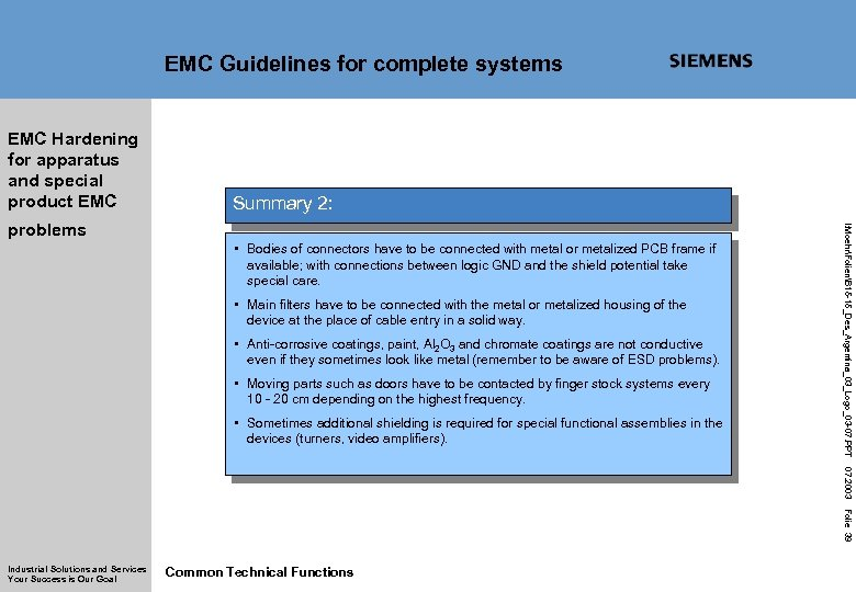 EMC Guidelines for complete systems EMC Hardening for apparatus and special product EMC Summary