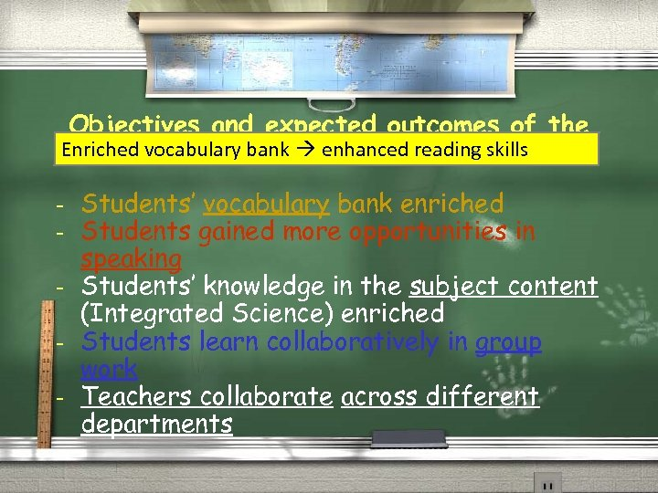 Objectives and expected outcomes of the Enriched vocabulary bank enhanced reading skills 20 -lesson