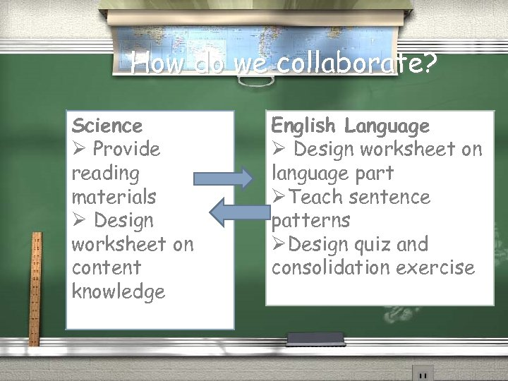 How do we collaborate? Science Ø Provide reading materials Ø Design worksheet on content