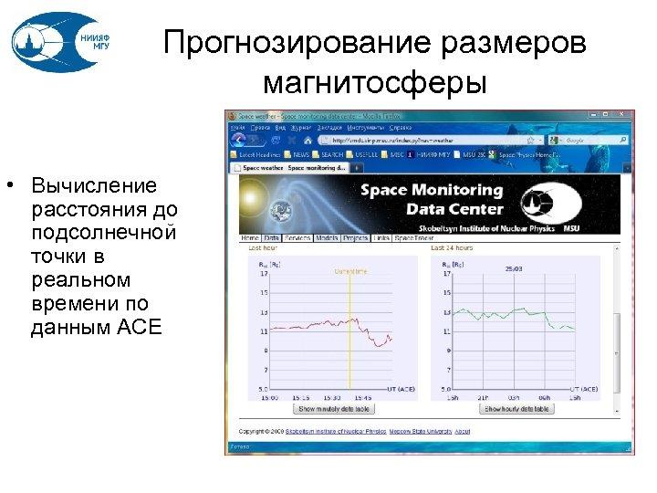 Прогнозирование размеров магнитосферы • Вычисление расстояния до подсолнечной точки в реальном времени по данным