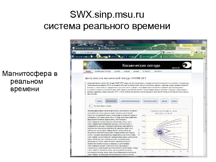 SWX. sinp. msu. ru система реального времени Магнитосфера в реальном времени