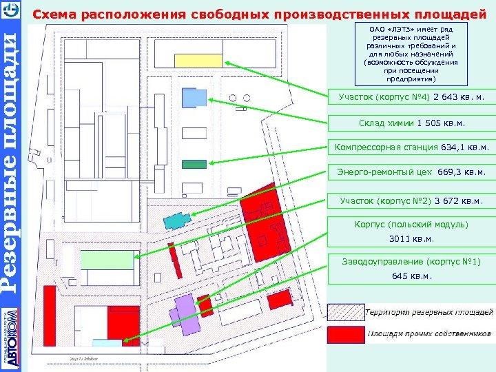 Схема расположения свободных производственных площадей ОАО «ЛЭТЗ» имеет ряд резервных площадей различных требований и